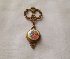 Vintage antique brass and glass flower cabachon delicate Pendent
