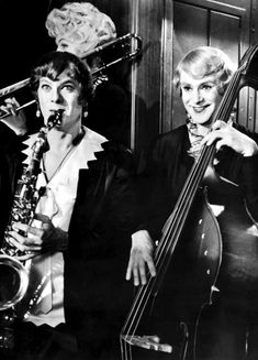 "Tony Curtis & Jack Lemmon in ""Some Like it Hot"" (1959) The. Best. Comedy. Ever. (Marilyn Monroe and Joe E Lewis rounded out the mayhem!)"