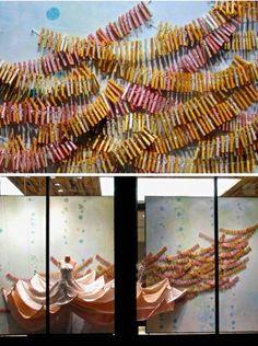 clothes-pins garland {love Anthropologie window displays!}