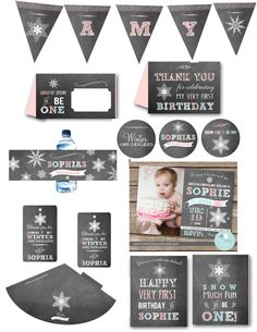 WINTER ONEDERLAND Invitation Party Chalkboard Printable Party Pack Invitation Cupcake toppers Water Bottle Wraps Favor Tags Sign Banner by littlebirdieprints on Etsy