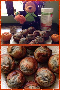 My Homemade easy bake Herbalife Pumpkin Spice &Blue Berry Muffins.