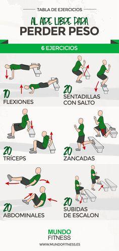 Tabla de ejercicios que podrás realizar al aire libre, perfectos para bajar peso y ponerte en forma . ¡No esperes más para entrenar en el parque o el campo!