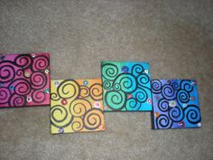 Set of 4 Textured Rainbow Canvases by ChickletsCanvases on Etsy, $45.00