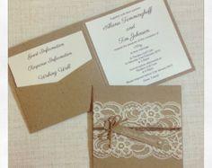 Invitación rústica blanco tinta Plaza de por StunningStationery