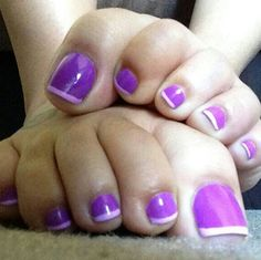 Purple French pedicure