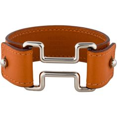 Hermes Cutout Logo Leather Bracelet ($395) ❤ liked on Polyvore featuring…