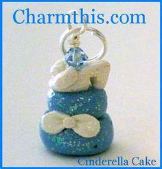Polymer Clay Cinderella's Glass Slipper Cake Charm on Etsy, $4.00