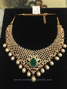 Indian Diamond Necklace Sets, Indian Diamond Necklace Designs, Diamond Choker Necklace Designs.