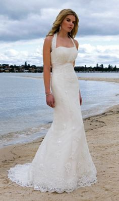 Graceful Halter Lace Beach Wedding Dress For Summer