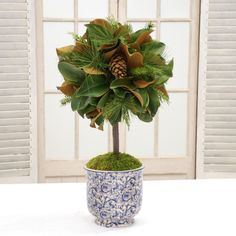 Red Barrel Studio Magnolia Leaf Desktop Foliage Topiary in Vase Magnolia Leaf Garland, Magnolia Leaves, Pine Cone Decorations, Christmas Decorations, Boxwood Topiary, Christmas Holidays, Holiday Fun, Festive, Christmas Crafts