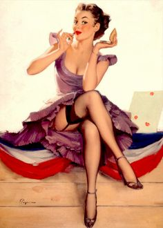 """Model pose and finished painting for """"One for the Money"""" by Gil Elvgren, 1954"""