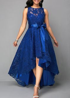 Vintage Lace Maxi Dress Women Sleeveless High Low Belted Irregular Swing A-Line Long Club Party Dress Vestidos 2019 Blue XXXL Lace Party Dresses, Elegant Dresses, Beautiful Dresses, Evening Dresses, Casual Dresses, Fashion Dresses, Maxi Dresses, Dress Prom, Sleeveless Dresses