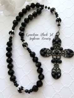 Anglican Rosary, Protestant Prayer Beads, Black Jet Gemstone Rosary, Episcopal Rosary, Christian Gift by FaithExpressions on Etsy