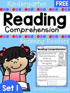 FREE Kindergarten Reading Comprehension Passages (SET 1)