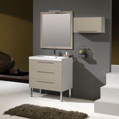 LUCIA TEXTIL BEIGE.    Nuevo acabado en textil color beige, con la resistencia normal del material para baño pero con una textura que imita el lino.   Laterales combinados en blanco.