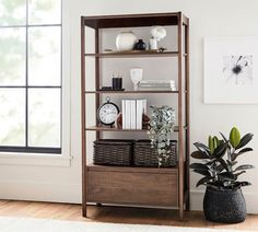 """Bloomquist 37"""" x 73"""" Bookcase with Drawer Bookcase With Drawers, Wide Bookcase, Etagere Bookcase, Bookshelves, Bookshelf Ideas, Pottery Barn Bookcase, Reclaimed Wood Bookcase, Industrial Bookshelf, Entryway Furniture"""