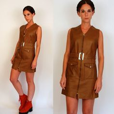 Vintage 60s Faux Leather Pleather Mod Brown Mini Dress tunic w/ zip front. Vinyl Beatnik boho belted hippie sheath. Extra Small - Small by BluegrassVoodoo on Etsy