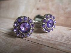 "Pair of Rhinestone Plugs - Handmade Girly Gauges - Bridal Plugs - Formal Gauges - by WhimsyByKrista, $23.00  Available in purple, lavender, hot pink, blue, and clear.  Available in sizes: 2g, 0g, 00g, 7/16"", 1/2"""