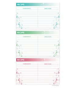 Recipe Cards FREE PRINTABLE: Write down your favorite recipes and keep on hand, trade with friends, and file away grandmas best recipes-