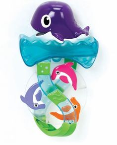 Munchkin Dolphin Divers Bath Toy by Munchkin. $6.50. From the Manufacturer                A scoop and pour bath toy that makes dolphins leap - your child will flip over this much fun. This entertaining toy help develop motor skills. it's the little things.                                    Product Description                 Munchkin Dolphin Divers Bath Toy  Munchkin Dolphin Divers Bath Toy is a scoop and pour toy that keeps children entertained at bath time. A...