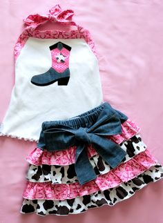 Cowgirl+Halter+and+Skirt+Set+Pink+Bandana+and+by+lilposhboutique,+$25.00