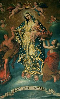 La Madre Santissima del Lume, c. 1722 - Anonymous Sicilian painter Most Holy Mother of Light is venerated in the cathedral of Leon in the state of Guanajuato in Mexico Religious Images, Religious Icons, Religious Art, Blessed Mother Mary, Blessed Virgin Mary, Catholic Saints, Catholic Art, La Salette, La Madone