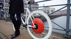Hybrid Bike Wheel - generates electricity which is controlled by an iphone and can be used as a power boost up hills or over long distances, wins US Dyson Award
