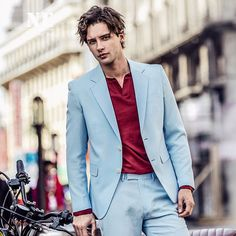 Brand Clothing 2017 Spring Summer men suits formal Sky Blue England Style slim fit men suit coat single breasted men suit jacket