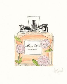 Miss Dior Perfume Drawing Print Pen and Ink by PeoniesandPerfume