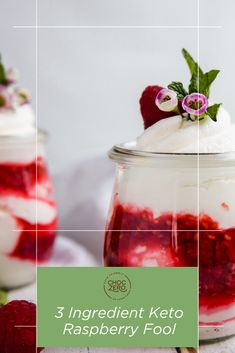 With just 3 ingredients needed and taking only a few minutes to whip up, this Keto Raspberry Fool is an easy low carb addition to any festivities. Light and airy vanilla whipped cream is swirled together with tangy raspberry puree. Quick Keto Dessert, Healthy Dessert Recipes, Keto Recipes, Raspberry Fool, Sugar Free Vanilla Syrup, Vanilla Whipped Cream, Sugar Free Recipes, 3 Ingredients, The Fool