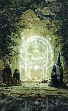 The Doors of Durin, also known as the West-gate or West-door of Moria, were built into the Walls of Moria in the dark cliffs of the Silvertine, and formed the western entrance to the great Dwarven city of Khazad-dûm.