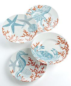 222 Fifth Dinnerware, Set of 4 Coastal Life Assorted Dessert Plates.love this color theme.plates would look great on a wall. Coastal Style, Coastal Decor, Table Turquoise, 222 Fifth Dinnerware, Dinnerware Sets, Plated Reviews, Beach House Decor, Home Decor, Beach Houses