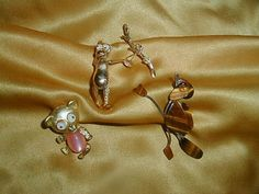 Vintage Moonglow Pink Jellybelly Google Googly Eyed Signed PAN Figural Brooch Collection Lot Bear Army Ant