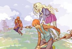 Fred and George taking Hermione and Luna for a fly. Eeeeeeek!!  Adorable!
