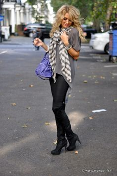 grey & black....love the scarf!