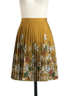 Planted in Style Skirt by Darling - Mid-length, Yellow, Red, Green, Floral, Pleats, Multi, White, Work, A-line, Fall