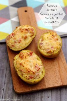 Pommes de terre farcies à la cancoillotte, tomate et jambon