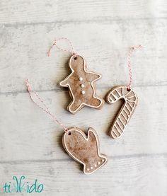 Recipe for gingerbread scented salt dough and a salt dough Christmas ornament tutorial.