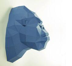 Cabeza de gorila, cabeza de kingkong, trofeo de papel, papel de gorila, poli baja gorila, papercraft, DIY, 3D, trofeo, papermodel, decoración de la pared