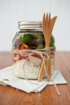 Ranch Chicken Salad in a Jar: Though concept was posted before with another pin, this recipe includes pasta for a more filling lunch and herbs for more flavor. The tutorial includes a video and several photos as well as step by step instructions. The next meal you serve pasta hold about 12 ounces aside and 2 cups lettuce or spinach to make salads for lunch the following day. Recipe makes 2 salads.