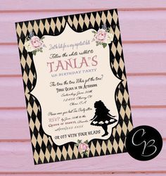 A personal favorite from my Etsy shop https://www.etsy.com/listing/474908158/alice-in-wonderland-invitation-alice-in #aliceinwonderland #invites #invitation #invitstions #madhatter #teaparty