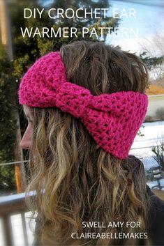 DIY-Crochet-Bow-Ear-Warmer-Pattern. Free downloadable crochet headband pattern