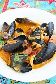 This is a must have dish » Spanish Mussels with Chorizo and Tomato-Wine Sauce