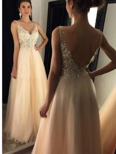 Long Prom dress, V-neck prom dress, Open Back prom dress, Champagne prom dress, A-line prom dress, Charming prom dress, Prom Dresses,On sale dress. PD015093
