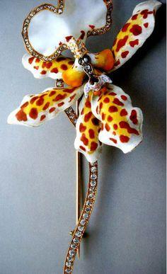Tiffany diamond and enamel Oncidium jonesianum orchid brooch by Paulding Farnham, 1889