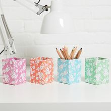 Practical pen pots are a perfect way to brighten up your desk or workspace and are great for use in a bedroom, study or kitchen. All our beautiful handmade stationery and storage products are produced in an eco-friendly way, from 100% recycled materials.