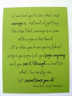 To Kill a Mockingbird Quote.  I'm proud of you.  Inspirational Card.. $2.50, via Etsy.