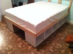 Ikea hack: Upright bookcases laid down for storage under bed. Bed & bookcases from Ikea. Ikea Hack Storage, Bed Storage, Extra Storage, Shoe Storage, Storage Cubes, Storage Baskets, Ikea Shelves, Storage Shelves, Storage Ideas