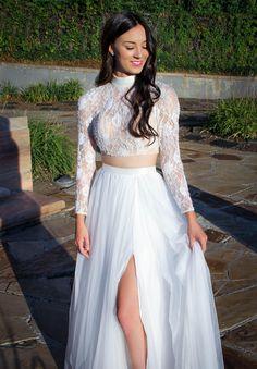 7344f2da873 White 2 Piece Longsleeve Chiffon Floorlength Dress Ypsilon Dresses Prom  Pageant Evening Wear store in Salt