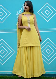 Latest Yellow Sharara Suit online from our designer Sharara Dress online collection at the best prices along with customer support. Party Wear Indian Dresses, Designer Party Wear Dresses, Indian Gowns Dresses, Dress Indian Style, Indian Fashion Dresses, Indian Wedding Outfits, Indian Designer Outfits, Beautiful Dress Designs, Stylish Dress Designs